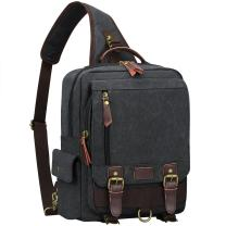S-ZONE Sling Canvas Cross Body 13 inch Laptop Messenger Bag Shoulder Backpack