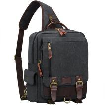 S-ZONE Sling Canvas Cross Body 13 inch Laptop Messenger Bag Shoulder Backpack