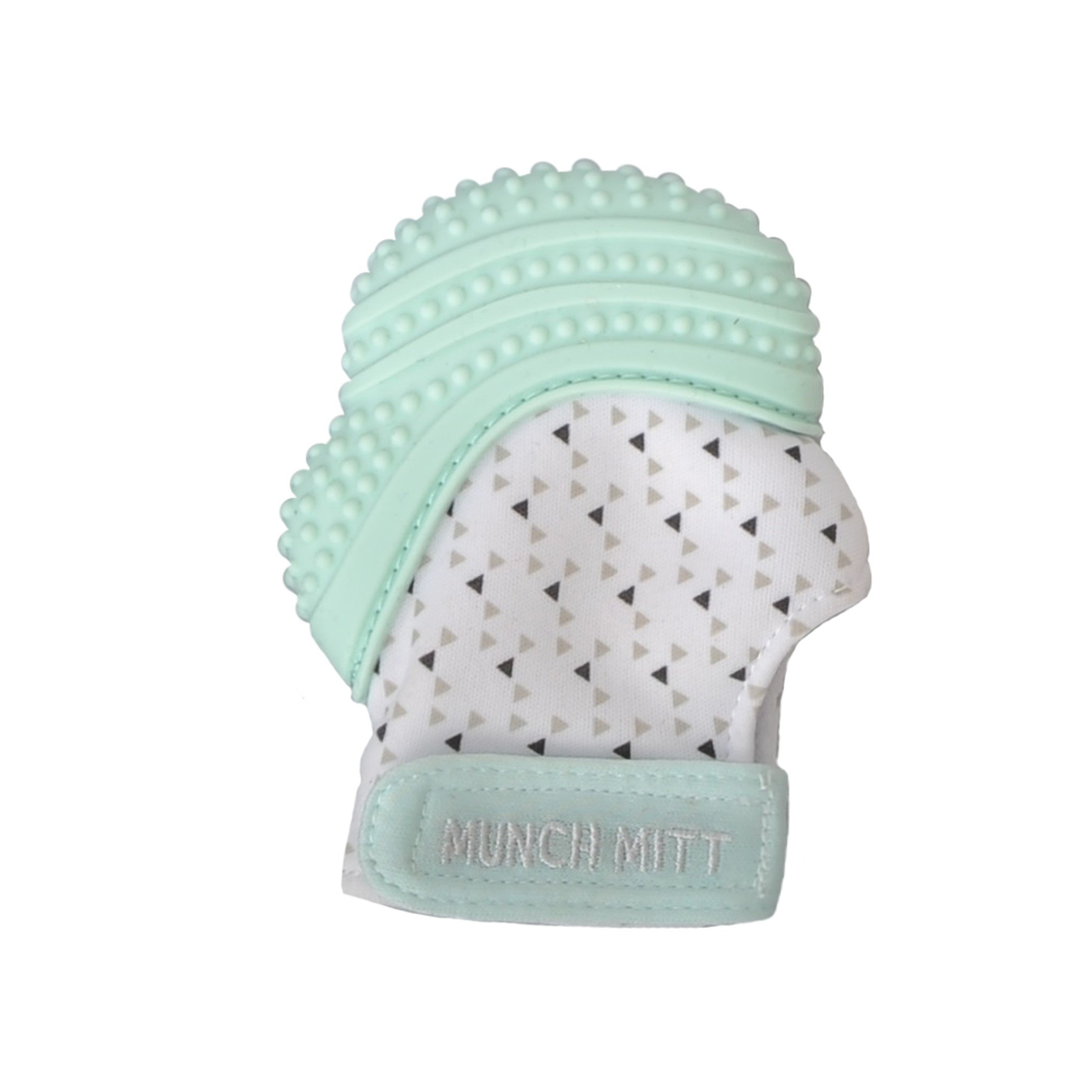 Munch Mitt Teething Mitten - The ORIGINAL Mom-Invented Silicone Teether Mitten with Travel Bag – Ideal Teething Toys for Baby Shower Gift - Mint Green Triangles