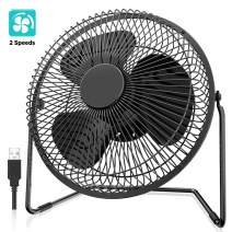 EasyAcc 8 inch USB Desk Fan (USB POWERED ONLY) Enhanced Airflow USB Table Fan Low Noise 2 Speeds 360° Rotation Desktop Metal Fan Air Circulator Personal Cooling Fan for Home Office Hurricane Camping