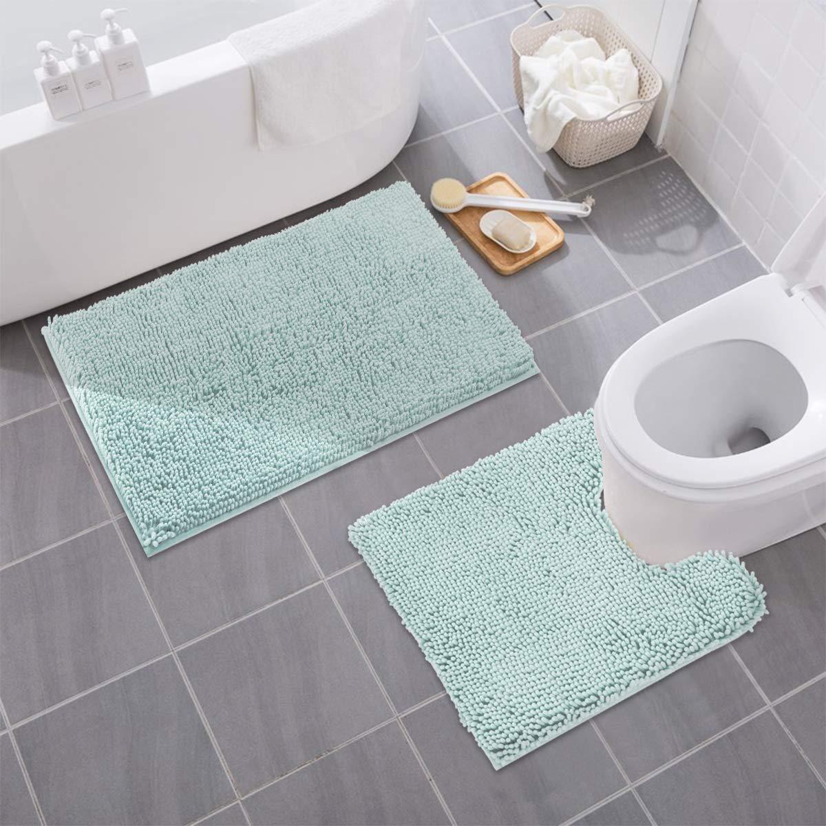"MAYSHINE Bathroom Rug Toilet Sets and Shaggy Non Slip Machine Washable Soft Microfiber Bath Contour Mat (Spa Blue,32"" 20""/20"" 20"" U-Shaped)"
