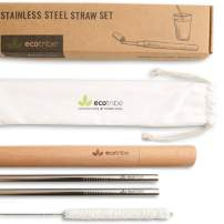 Reusable Metal Stainless Steel Straws: Two Travel Reusable Straws, One Wooden Case, One Cotton Cleaning Brush, One Pouch, for Hot and Cold Drinks, Portable for Personal Use, 8.5 inches, by EcoTribe
