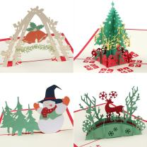 Coogam Pop Up Christmas Card with Envelope Set of 4 - Handmade Paper Craft Get Well Soon Cut out Greeting Card for New Year Holiday Gift - Feature Xmas Tree,Snowman,Reindeer and Bell