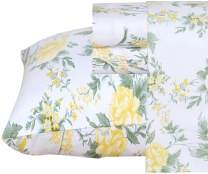 Ruvanti 100% Cotton 4 Pcs Flannel Sheets California King Floral Design, Deep Pocket, Warm-Super Soft-Breathable, Moisture Wicking Flannel Bed Sheet Set -Flat Sheet,Fitted Sheet with 2 Pillowcases