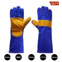NPL Leather Forge Welding Gloves Heat Fire Resistant Mitts for Oven Grill Fireplace Furnace Stove Pot Holder Tig Welder Mig BBQ Animal handling glove with 16 inches Extra Long Sleeve