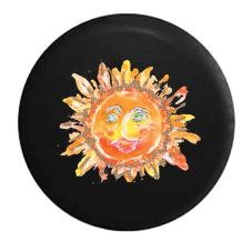 American Unlimited Watercolors Smiling Sunshine Spare Tire Cover (Fits: Jeep Wrangler Accessories or SUV Camper RV) Black 31 in