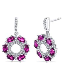 Created Ruby Dahlia Drop Earrings Sterling Silver 3 Carats