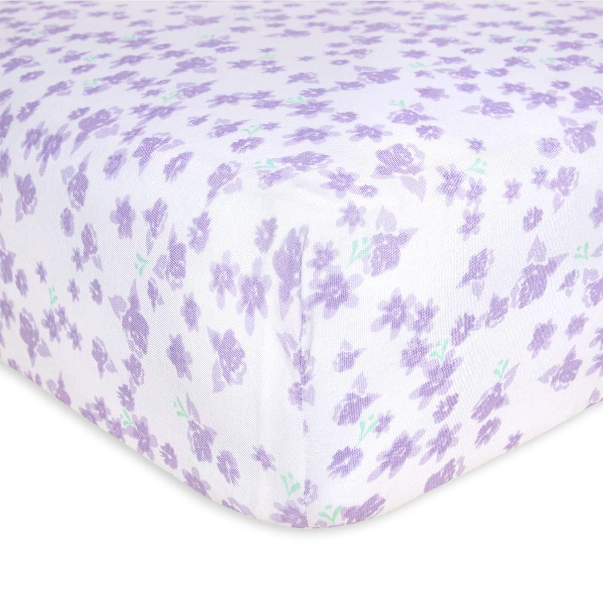 Burt's Bees Baby - Fitted Crib Sheet, Girls & Unisex 100% Organic Cotton Crib Sheet for Standard Crib and Toddler Mattresses (Purple Ditsy Rose Garden)