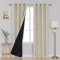 Deconovo Linen Blackout Curtains 100 Percent Sun Light Blocking Window Curtains for Bedroom Living Room Double Layer Room Darkening Grommet Curtains Beige 52 x 84 Inches Length Set of 2 Panels