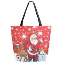ZzWwR Christmas Santa Claus Deer Snowman Snowflake Extra Large Canvas Shoulder Tote Top Handle Bag for Gym Beach Weekender Travel Shopping