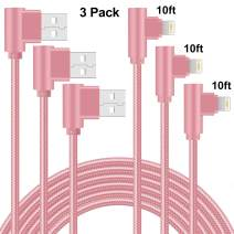 90 Degree Lightning Cable 10ft Right Angle 3 Pack Nylon Braided iPhone Charger Cable Fast Charging iPhone Cable USB Charge Cord Compatible with iPhone Xs XR X/8 Plus/7 Plus/6 Plus (Rose Gold,10ft)