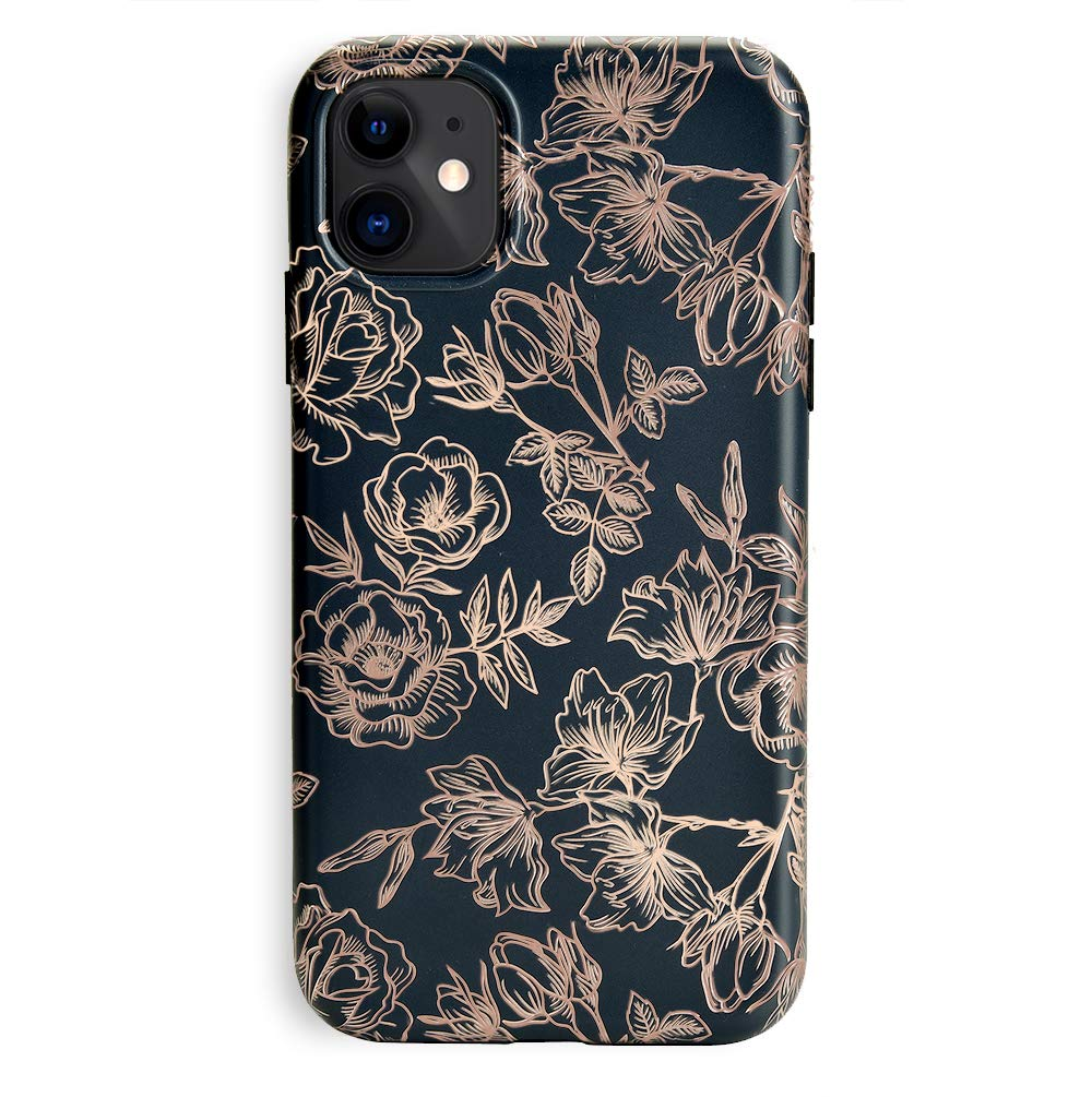 Velvet Caviar Compatible with iPhone 11 Case Floral Flower for Women & Girls - Cute Protective Phone Cases (Rose Gold Matte Black)