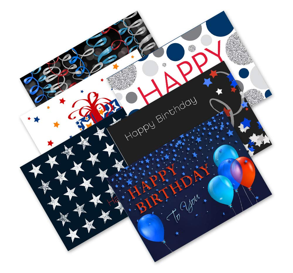 Patriotic Birthday Cards - Assortment Pack - 30 Cards with Envelopes | Printed in the USA