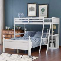 Twin Over Full Bunk Beds with Cabinet, Solid Wood Loft Bunk L-Shaped Bunk Beds Twin Over Full Size, No Box Spring Needed (White)