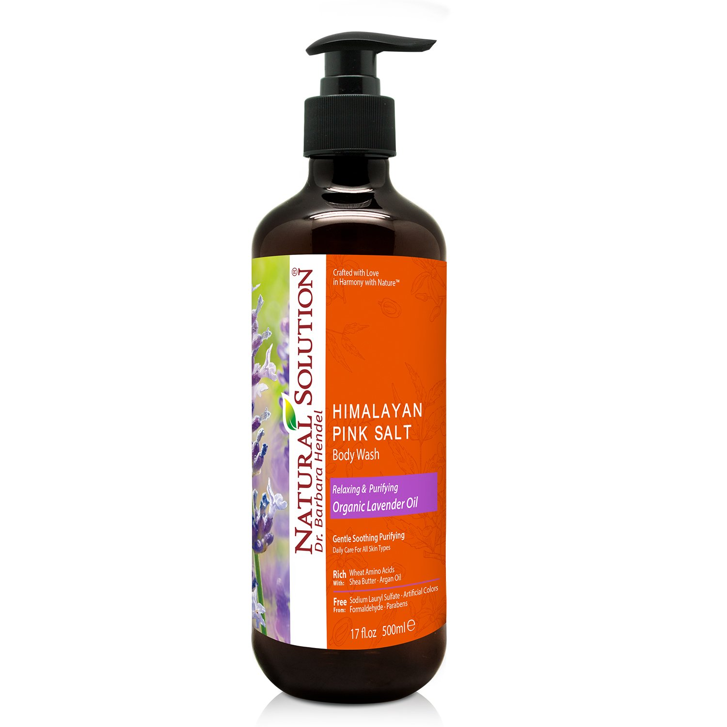 Natural Solution Pink Salt Body Wash, Relax & Purifying Body Wash with Organic Lavender Oil - 500 Ml