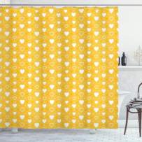 """Ambesonne Yellow Shower Curtain, Full and Empty Heart Shapes with Little Dots and Tiny Hearts Pattern, Cloth Fabric Bathroom Decor Set with Hooks, 84"""" Long Extra, Yellow White"""