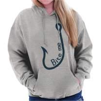 Brisco Brands Bite Me Hook Bait Funny Fisherman Angler Hoodie