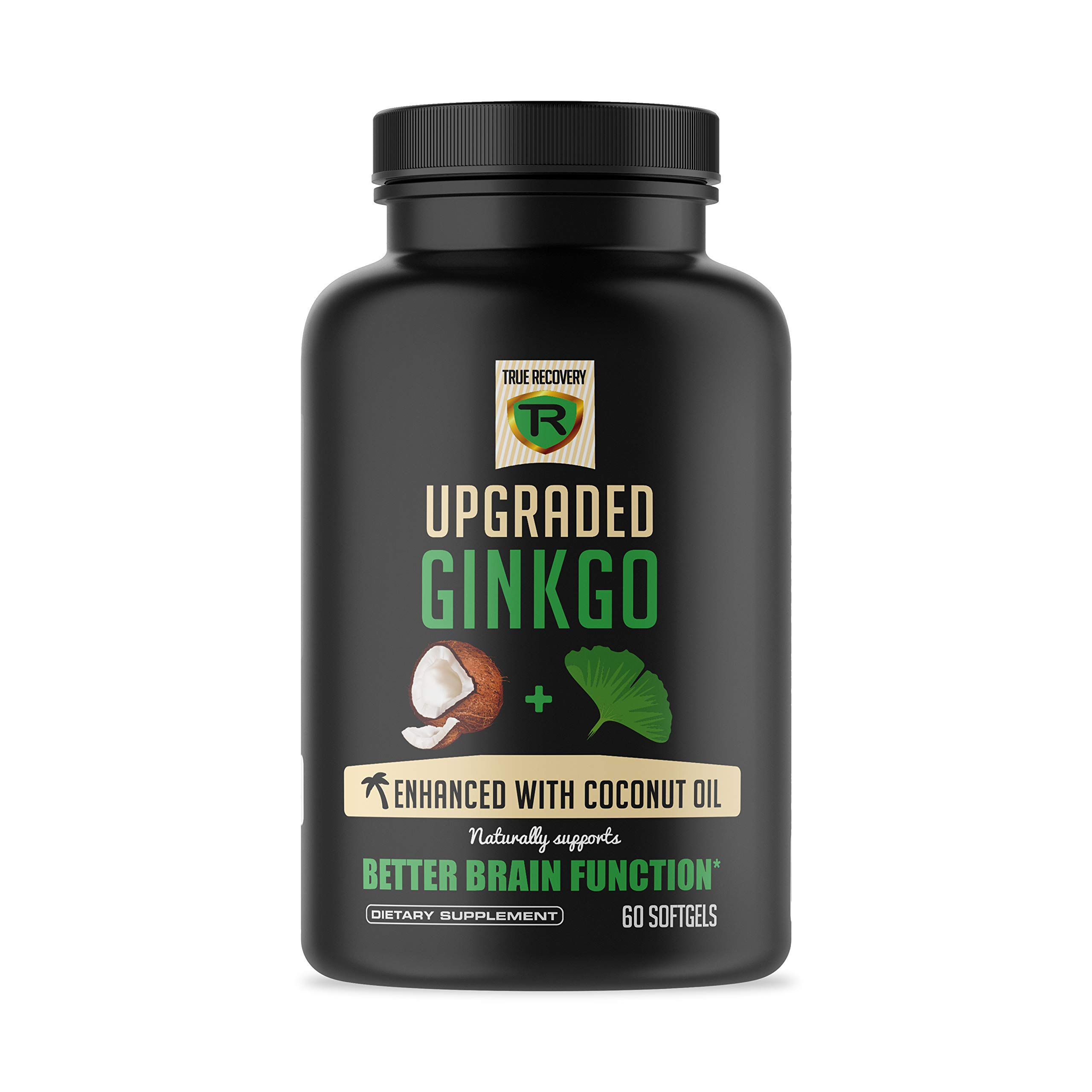 Extra Strength Ginkgo Biloba - Enhanced with Coconut Oil for Better Absorption - Brain Supplement Supports Focus, Memory, Brain Function & Mental Performance - Vegan, Non-GMO (60 Capsules) (Black)