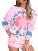 Eytino Women Short Pajama Set Long Sleeve Crewneck Tie Dye Printed Sleepwear PJ Set Loungewear Nightwear S-XXL