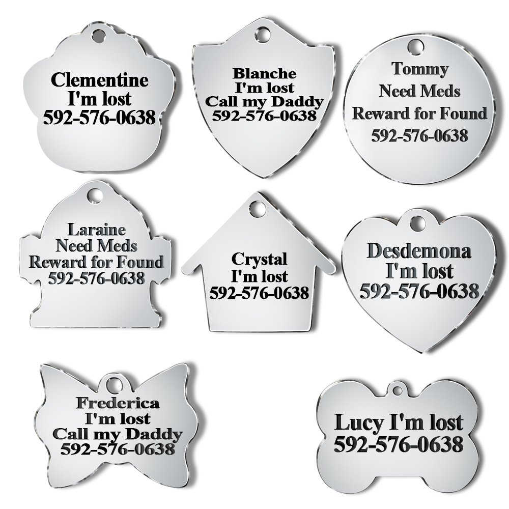 PETAFLOP Dog ID Tag Silencer Personalized Stainless Steel Engraved Name Pet ID Tags 8 Shapes