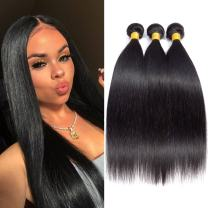 """MSD Hair Extensions Brazilian Straight Hair Bundles 10 12 14 inch Straight Hair Bundles 10A, Unprocessed Human Hair Bundles Virgin Hair Weave human bundles (Natural Black Color, 10""""12""""14"""")"""