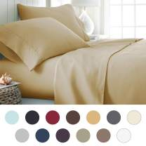 ienjoy Home Hotel Collection Luxury Soft Brushed Bed Sheet Set, Hypoallergenic, Deep Pocket, Twin X-Large, Gold