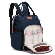 LEQUEEN Diaper Bag Backpack Multi-Function Nappy Bags for Mom & Dad (dark blue)