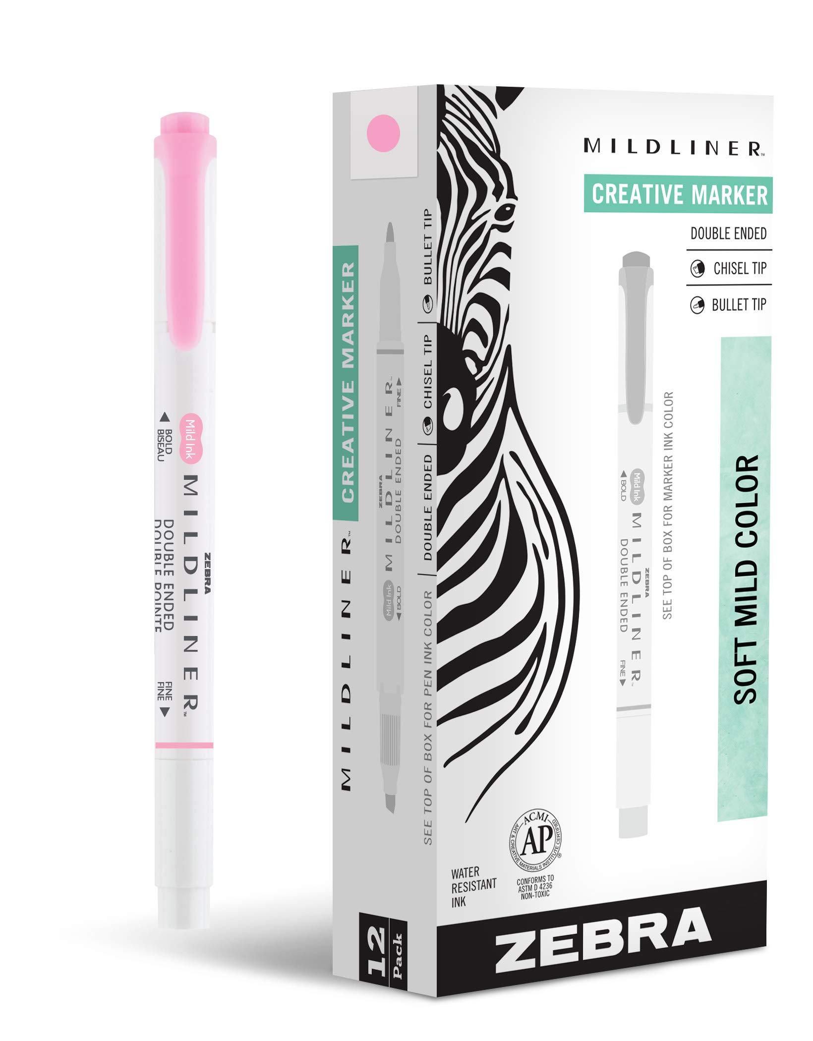 Zebra Pen Mildliner, Double Ended Highlighter, Broad and Fine Tips, Pink, 12-Count