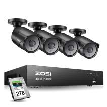 ZOSI Ultra HD 4K Outdoor Security Camera System, 8 Channel H.265+ CCTV DVR with 4 x 4K (8MP) Bullet Camera Kit Weatherproof, 100ft Night Vision, 2TB Hard Drive, Remote Access