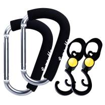 Lupantte Mommy Shopping Hook, Universal Stroller Hook Clips, 4 Pack X-Large 6.7x4.1 Inch, Great Accessory for Walking, Carry Baby Diaper Bags, Groceries, Clothing, Purse. etc