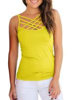 Niitawm Womens Tank Tops Criss Cross Spaghetti Strap Summer Cami Tops Hollow Out Sleeveless T Shirts