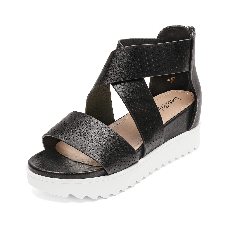 DREAM PAIRS Women's Platform Wedge Sandals Open Toe Crisscross Ankle Strap Casual Flatform Summer Sandals