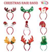 ALLADINBOX 9PCS Christmas Headbands, Santa Claus Reindeer Antlers Christmas Trees and Santa Hat Headband for Christmas Holiday New Years Decoration
