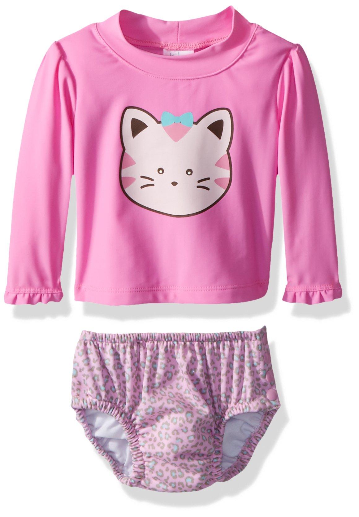 KIKO & MAX Girls' Baby Rashguard and Diaper Cover Swim Set, Pink Kitty, M