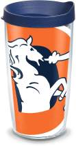 Tervis 1085190 NFL Denver Broncos Legacy Colossal Tumbler with Wrap and Navy Lid 16oz, Clear