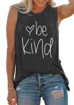 BLANCHES Be Kind Tank Tops Women Inspirational Saying Cami Vest Sleeveless Workout Shirt Summer Tee Tops
