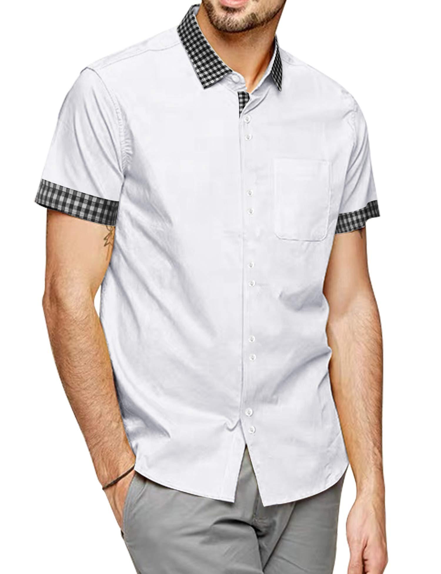 COOFANDY Men's Plaid Collar Casual Button-Down Shirt Short Sleeve Cotton Pocket Dress Shirt