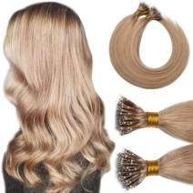 Nano Tip Remy Hair Extensions Nano Ring Human Hair Extensions Cold Fushion Tipped Real Hair Micro Beads Links Hairpiece Full Head Brazilian Hair For Women 16inch 50g/PACK 50 Strands #27 Dark Blonde