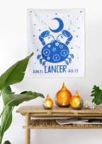 Madhu International Graphic Zodiac Flag Tapestry Zodiac Sign Cancer Astrology Tapestry The Universal Sign Horoscope Celestial Tapestries Hippie Wall Hanging with Steel Grommets for Easy Hanging