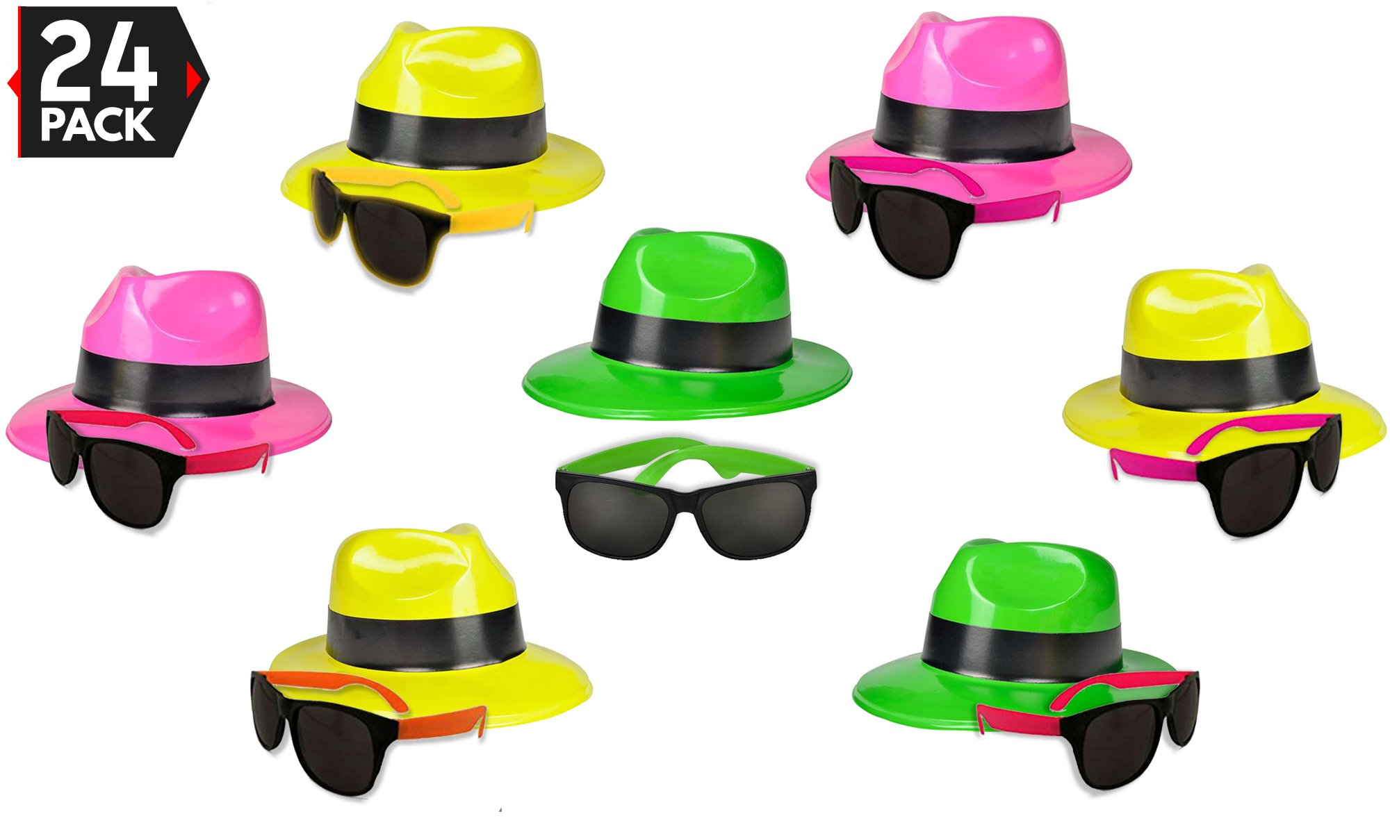 24 Neon Party Supplies Pack - Party Favors Assortment - 12 Neon Sunglasses & 12 Neon Plastic Gangster Hats - Fun Party Toys