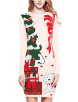 v28 Ugly Christmas Sweater for Women Vintage Funny Merry Knit Sweaters Dress