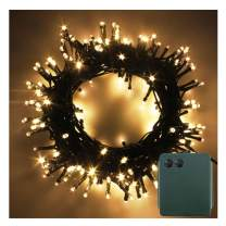 PMS LED String Fairy Lights Green Cable Battery Power Operated Waterproof Indoor & Outdoor for Christmas Tree Xmas Party Garden Decoration (300 LEDs, Warm White)