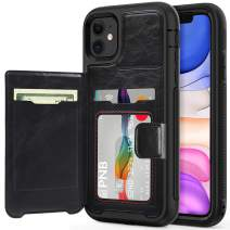 timecity iPhone 11 Case,Dual-Camera System 6.1-Inch iPhone Wallet Case.Full-Body Heavy Duty Protection Leather Cover with Card Holder & Kickstand Case for iPhone 11 2019 Release - Black