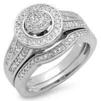 Dazzlingrock Collection 0.45 Carat (ctw) Round White Diamond Ladies Bridal Engagement Ring Set 1/2 CT, Sterling Silver