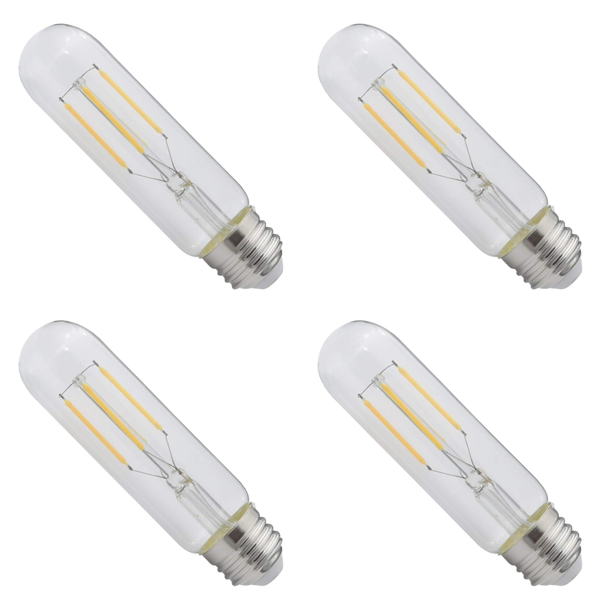 Candex LED Filament T10 Bulb E26 Medium Base, 4W (40W Equivalent), 2700K Warm White, Dimmable, CEC Title 24 JA8 Compliant (4 Pack)