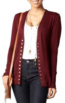 Women's Cardigan V-Neck Snap Button Down Soft Knit Long Sleeve Sweater