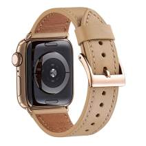 WFEAGL Compatible iWatch Band 44mm 42mm, Top Grain Leather Band with Gold Adapter (The Same as Series 4 with Gold Stainless Steel Case in Color) for iWatch Series 5/4/3/2/1 (Camel Band+Gold Adapter)