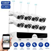 JOOAN 2MP Security Camera System Wireless,8-Channel NVR&8Pcs FHD 1080P Cameras,Waterproof&Good Night Vision,Motion Alert