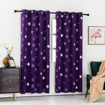 Anjee Purple Curtains for Kids Room, Blackout Drapes with Silver Stars Grommet Thermal Insulated Window Treatment 52 x 45 Inches