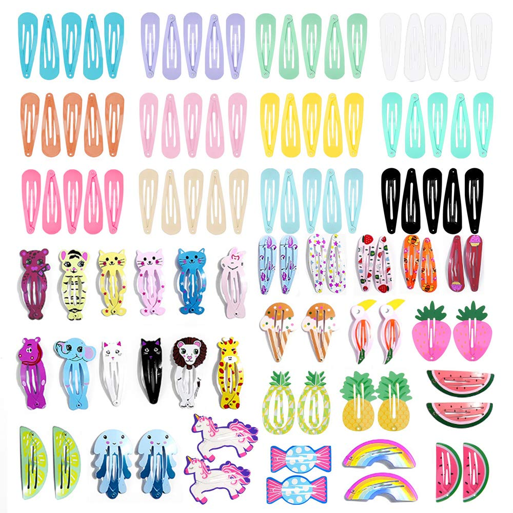 MJartoria 106 Pcs Animal Fruit Pattern Print Hair Clips for Girls No Slip Metal Hair Clips Snap Barrettes for Girls Toddlers Kids Women Accessories (106 Pcs)